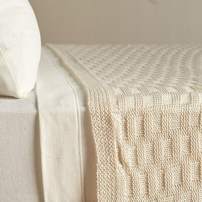 Acrylic Basket Knit Blanket Size: Twin, Color: Bright White