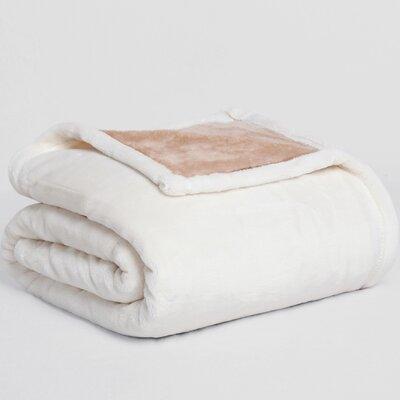VelvetLoft� Dual-Color Reversible Throw Color: Cream