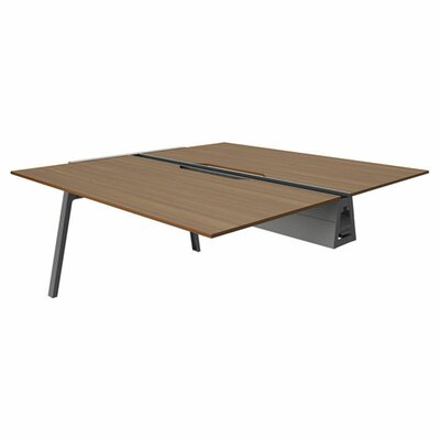 Bivi 28.5 H Desk Bridge Base Finish: Midnight Metallic, Power Option: No Power, Size: 60 x 60, Tabletop Finish: Clear Walnut