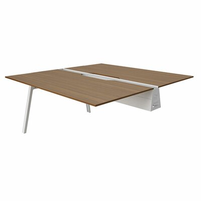 Bivi 28.5 H Desk Bridge Tabletop Finish: Clear Walnut, Base Finish: Arctic White, Size: 30 x 48