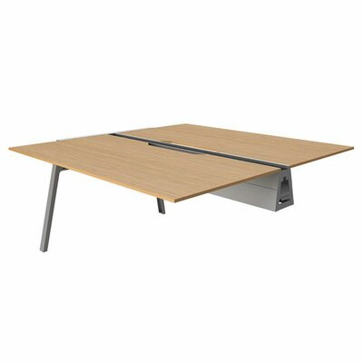 Bivi 28.5 H Desk Bridge Tabletop Finish: Warm Oak, Base Finish: Midnight Metallic, Size: 30 x 48