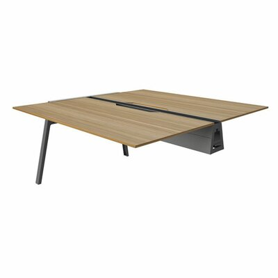 Bivi 28.5 H Desk Bridge Base Finish: Midnight Metallic, Power Option: No Power, Size: 60 x 60, Tabletop Finish: Virginia Walnut