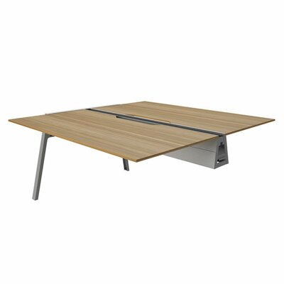 Bivi 28.5 H Desk Bridge Base Finish: Platinum Metallic, Power Option: No Power, Size: 60 x 60, Tabletop Finish: Virginia Walnut