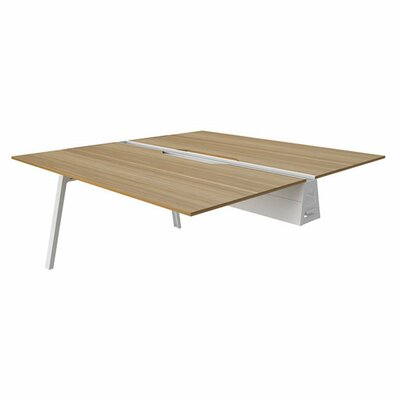 Bivi 28.5 H Desk Bridge Base Finish: Arctic White, Power Option: No Power, Size: 48 x 60, Tabletop Finish: Virginia Walnut