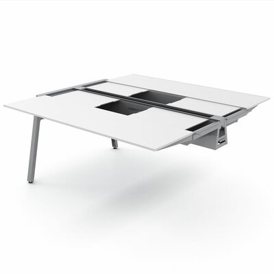 Bivi Table Plus Two with Back Pocket Top Laminate Finish: Arctic White, Base Finish: Platinum Metall Product Picture 1030