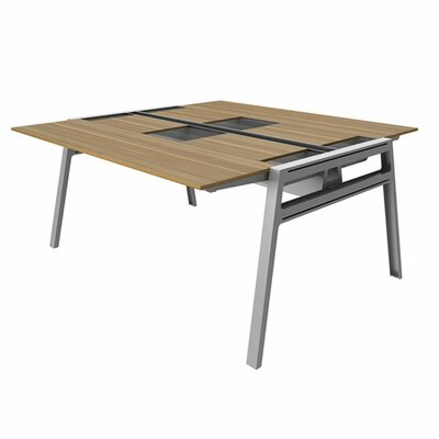 Bivi 62 x 60 Training Table for Two with Back Pockets Top Laminate Finish: Virginia Walnut, Base Fin Product Picture 1026