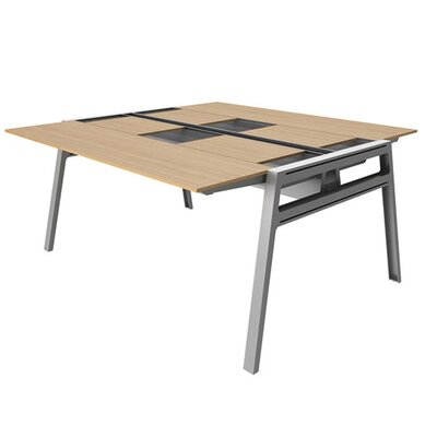 Bivi 62 x 60 Training Table for Two with Back Pockets Top Laminate Finish: Warm Oak, Base Finish: Pl Product Picture 1026