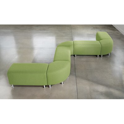 Steelcase Alight Lounge Bench Ottoman - Leg Finish: Brushed Aluminum, Fabric: Buzz2 - Green at Sears.com