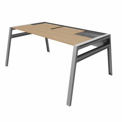 Bivi Training Table for One with Back Pocket Power Option: No Power, Top Laminate Finish: Warm Oak, Product Picture 4