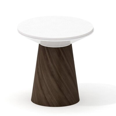 Campfire Turnstone 24.6 Round Paper Table Finish: Blackwood, Style: Glass