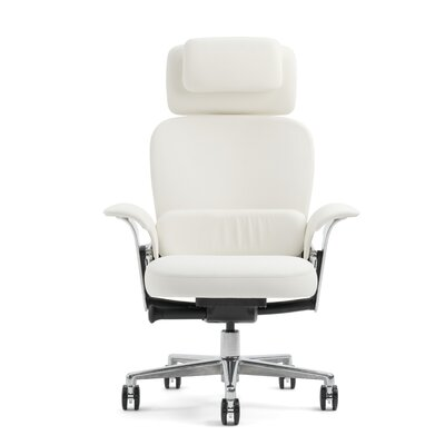 LeapR WorkLounge Office Chair Leather Color: Elmosoft Leather - White, Casters/Glides: Standard Glid Product Image 1678