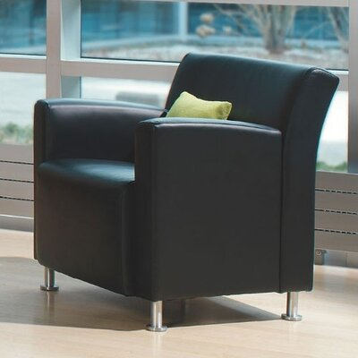 Jenny Lounge Leather Lounge Chair Leather Color: Steelcase Leather - Navy, Leg Type: Black Plastic