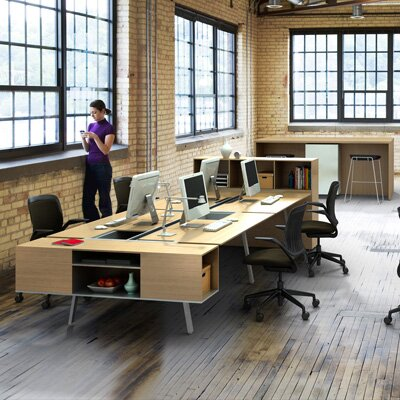 Steelcase Bivi Office Workstation for Four | Office Furniture Junction