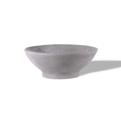ResinStone Contemporary Broad-Rimmed Dish Planter Color: Lead Gray Drain Hole: No Drain Hole image