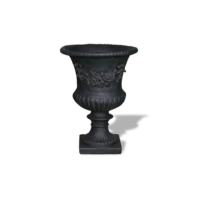 ResinStone Rose Urn without Handles Color: Black Drain Hole: Drain Hole image