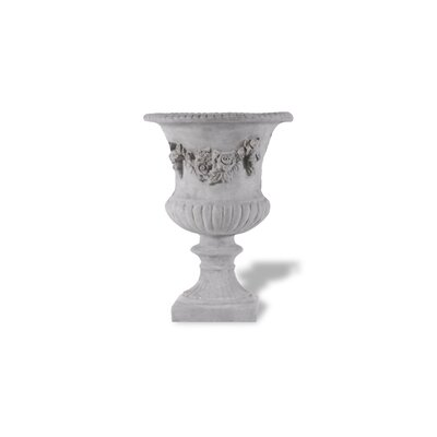 ResinStone Rose Urn without Handles Color: Lead Gray Drain Hole: Drain Hole image