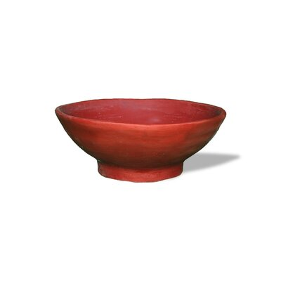 ResinStone Contemporary Broad-Rimmed Dish Planter Color: Terra Cotta Drain Hole: Drain Hole image