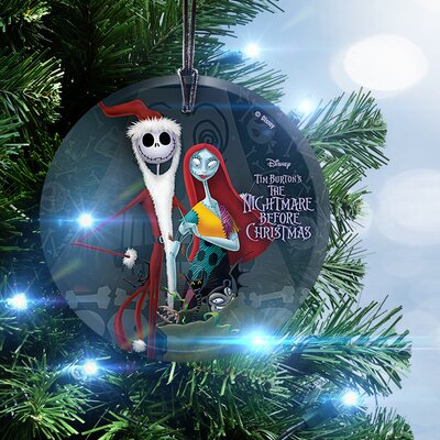 Nightmare Before Christmas Santa Jack and Sally Hanging Glass Ornament