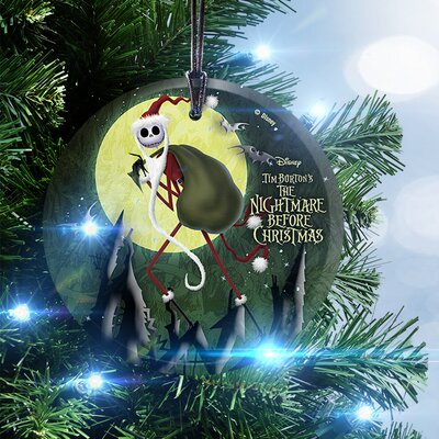Nightmare Before Christmas Santa Jack Hanging Glass Ornament
