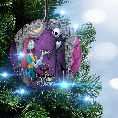 Nightmare Before Christmas Jack and Sally with Zero Hanging Glass Ornament