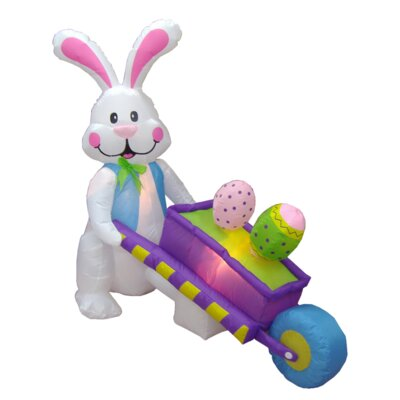 4' - 6' Long Easter Inflatable Rabbit Pushing Wheelbarrow with Eggs Size: 72