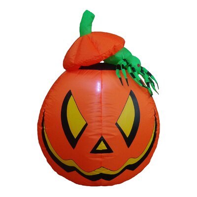Lighted Halloween Inflatable Pumpkin with Spider Indoor/Outdoor Decoration