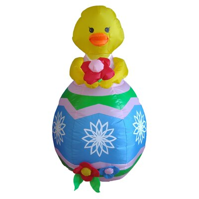 Lighted Easter Inflatable Chick with Flower Indoor/Outdoor Decoration