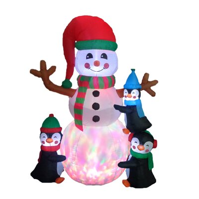 Christmas Inflatable Penguins Building Snowman 100314