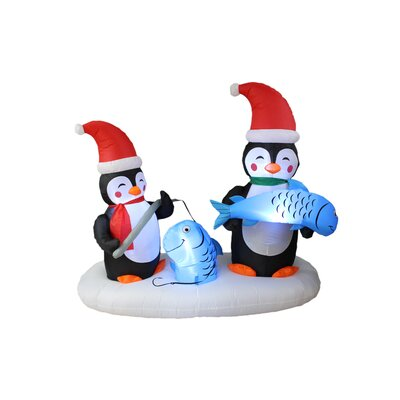 Christmas Inflatable Two Penguins Fishing Yard Decoration