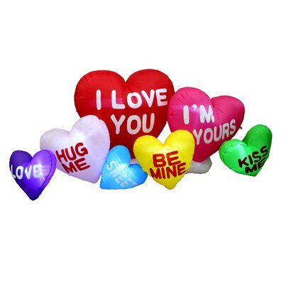 Valentine's Day Inflatable Colorful Hearts with Love Messages Yard Decoration