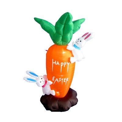 Easter Inflatable Giant Carrot with Cute Bunny Decoration