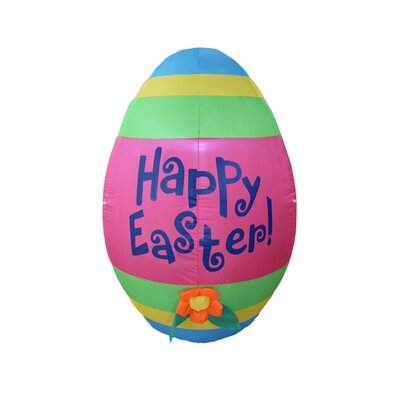 Inflatable Cute Colorful Giant Easter Egg with Flower Decoration