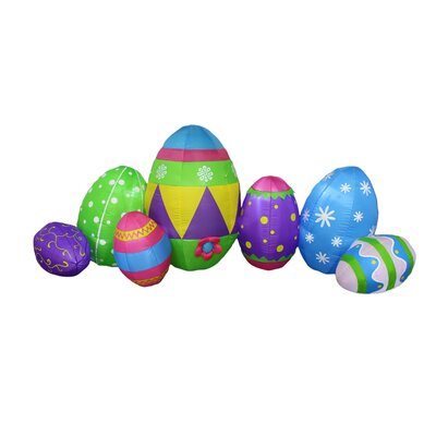 8 Foot Long Inflatable Colorful Patterned Easter Eggs Decoration