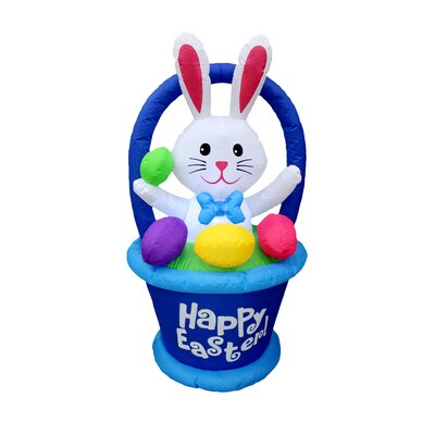 Inflatable Bunny in Basket with Easter Egg Decoration