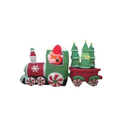 8' Long Christmas Inflatable Santa Claus Driving Train