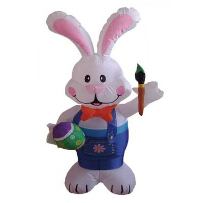 Easter Inflatable Rabbit Holding Color Pen Decoration