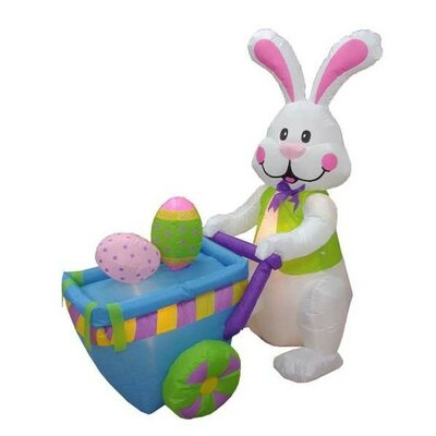 "Easter Inflatable Rabbit Pushing Cart with Eggs Decoration Size: 48""D"