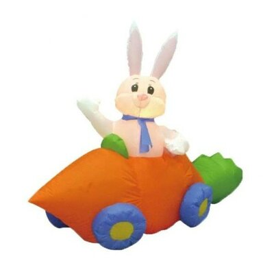 "Easter Inflatable Rabbit in Carrot Car Decoration Size: 72""D"