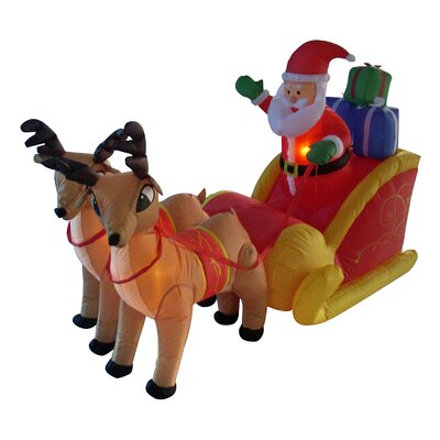 BZB Goods Christmas in-flatable Santa on Sleigh with Reindeer Decoration