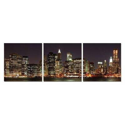Skyline At Night Modern 3 Piece Photographic Print Set