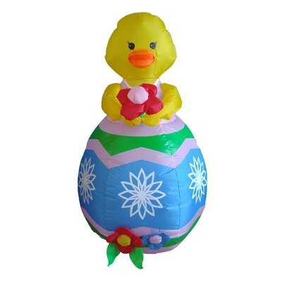 Easter Inflatable Chick with Flower Decoration