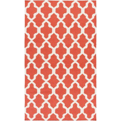 Bangor Orange Geometric Area Rug Rug Size: Rectangle 4 x 6