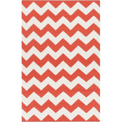 Bangor Orange Chevron Area Rug Rug Size: Rectangle 10 x 14