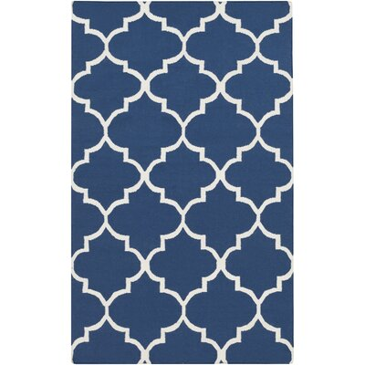 York Navy Geometric Area Rug Rug Size: 8 x 10