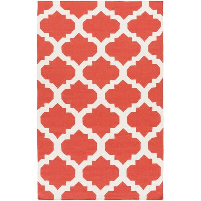 Bangor Coral Geometric Area Rug Rug Size: Rectangle 9 x 12