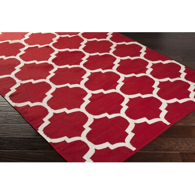 Vogue Red & Off White Geometric Everly Area Rug Rug Size: 8 x 10
