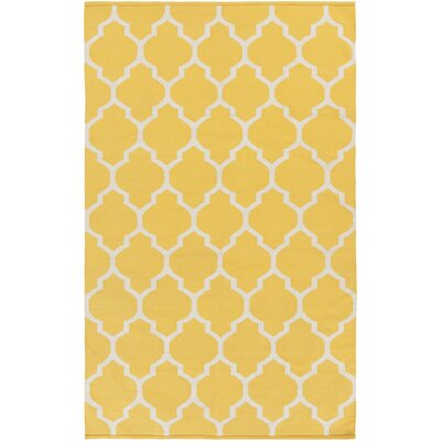 Bohannon Handmade Yellow Geometric Area Rug Rug Size: Rectangle 4 x 6