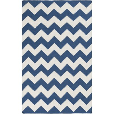 Bangor Navy Chevron Area Rug Rug Size: Rectangle 8 x 10