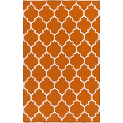Bohannon Handmade Orange Geometric Area Rug Rug Size: Rectangle 4 x 6