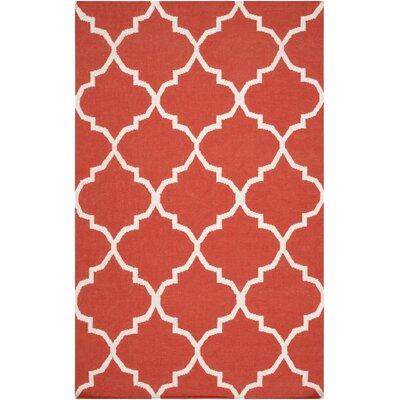 Bangor Orange Geometric Area Rug Rug Size: Rectangle 2' x 3'
